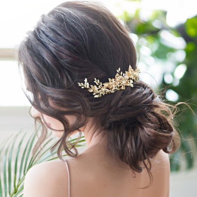 ATHENA COLLECTION - ENCHANTING FLORAL HAIR COMB - GOLD (HC193)