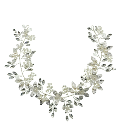 ATHENA COLLECTION - FLORAL ROMANCE HAIRVINE - SILVER  HP158