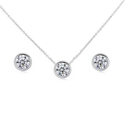 CUBIC ZIRCONIA COLLECTION - CZ SOLITAIRE PENDANT SET - (CZNK62)
