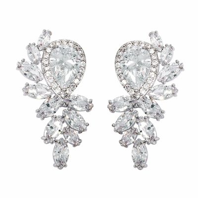 CUBIC ZIRCONIA COLLECTION - EXQUISITE STARLET EARRINGS - CZER476 SILVER