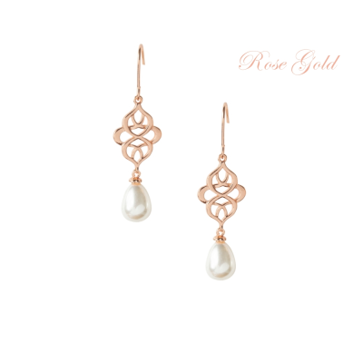 ATHENA COLLECTION - CELTIC KNOT BRIDAL EARRINGS - ROSE GOLD (CZER456)