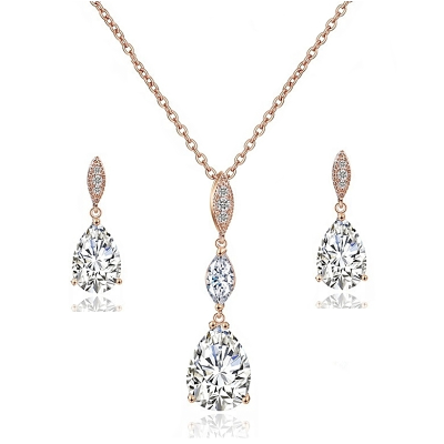 CUBIC ZIRCONIA - BRIDAL NECKLACE SET - NK1 ROSE GOLD