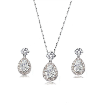 Cubic Zirconia Collection - Dazzling Crystal Drop Necklace Set - (CZNK55)