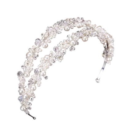 ATHENA COLLECTION - PEARL DOUBLE CLUSTER HEADBAND - SILVER AHB79