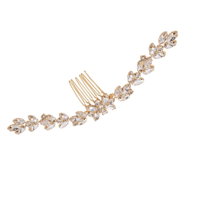 ATHENA COLLECTION - CRYSTAL GLAM HAIR COMB - HC196 GOLD