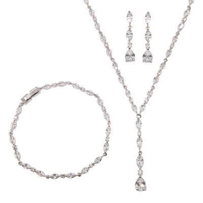 CIBIC ZIRCONIA COLLECTION - CRYSTAL DROP NECKLACE SET - 3 PIECE SET - CZNK96