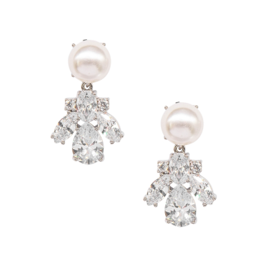 CUBIC ZIRCONIA COLLECTION - DAINTY STARLET EARRINGS - CZER589 SILVER