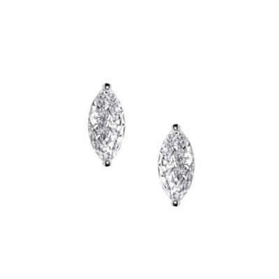 CUBIC ZIRCONIA COLLECTION - CRYSTAL GEM EARRINGS - SILVER CZER416