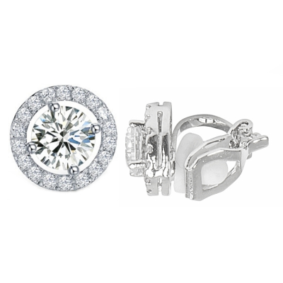 CUBIC ZIRCONIA COLLECTION - CZ CRYSTAL CLIP-ON EARRINGS - CZER435