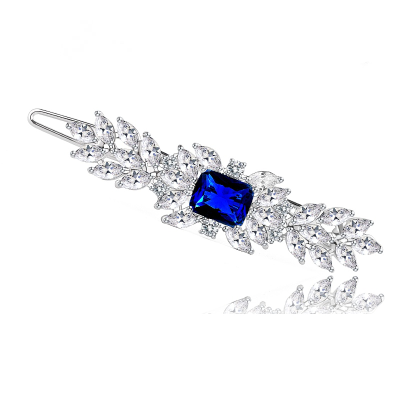 CZ COLLECTION - VINTAGE INSPIRED CRYSTAL CLIP -  (CLIP 734) BLUE