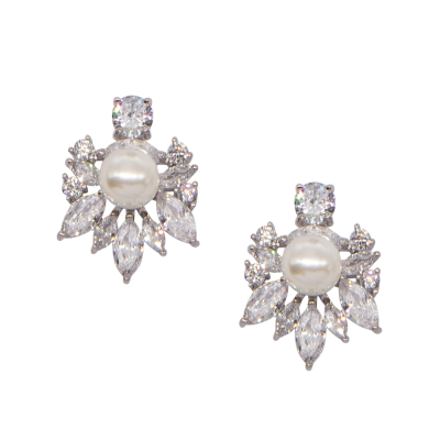CUBIC ZIRCONIA COLLECTION - SIMPLE SPARKLE EARRINGS - CZER482 SILVER