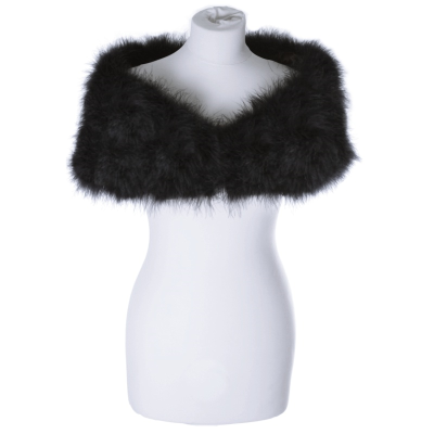 VINTAGE INSPIRED MARABOU FEATHER STOLE - BLACK (SG1)
