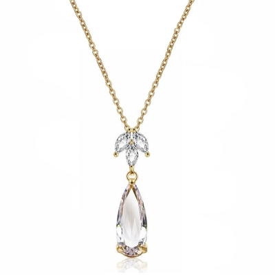 CUBIC ZIRCONIA COLLECTION - GLAM STARLET NECKLACE - CZNK112 (GOLD)