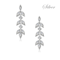 CUBIC ZIRCONIA COLLECTION - DAINTY DROP SPARKLE EARRINGS - CZER452 SILVER