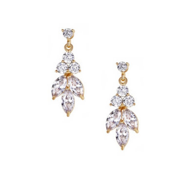 CUBIC ZIRCONIA COLLECTION - DAINTY SPARKLE DROP EARRINGS - CZER441  GOLD