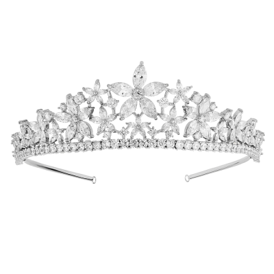 CUBIC ZIRCONIA COLLECTION - EXQUISITE FLORAL TIARA - CZ1 TIARA - SILVER