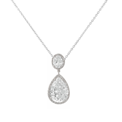 Cubic Zirconia Collection - Sheer Elegance Necklace - SILVER - CZNK53