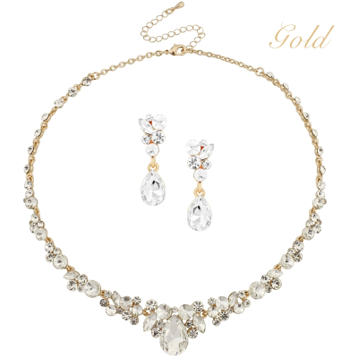 ATHENA COLLECTION - CRYSTAL ENCHANTMENT NECKLACE SET -  GOLD (NK166)