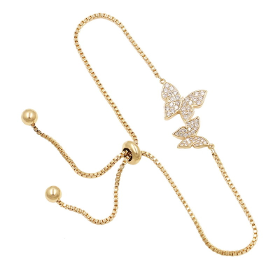 CUBIC ZIRCONIA COLLECTION - BEJEWELLED BUTTERFLY BRACELET - (CZBRA34) GOLD