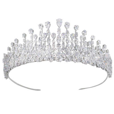 CUBIC ZIRCONIA COLLECTION - GRACEFUL STARLET TIARA - AHB41