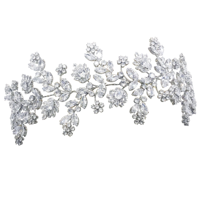CUBIC ZIRCONIA COLLECTION - GATSBY STYLE OPULENCE HEADPIECE - AHB-27 SILVER