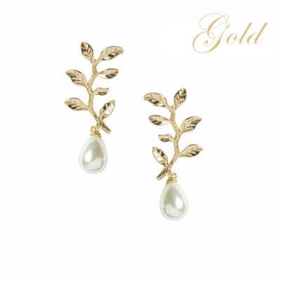 ATHENA COLLECTION - DELICATE VINE EARRINGS - CZER454  GOLD