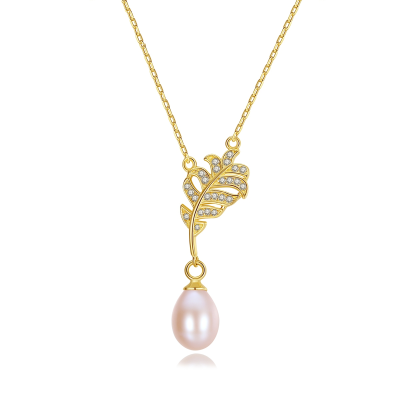 CUBIC ZIRCONIA COLLECTION - VINTAGE FRESHWATER PEARL NECKLACE - CZNK121