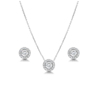 CUBIC ZIRCONIA COLLECTION - CRYSTAL SPARKLE  NECKLACE SET - CZNK78 SILVER