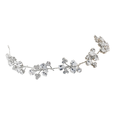 CUBIC ZIRCONIA COLLECTION - GLITZY SPARKLE HAIR VINE - HP170 SILVER