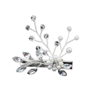 ATHENA COLLECTION - PRETTY PEARL HAIR CLIP - CLIP 735 SILVER