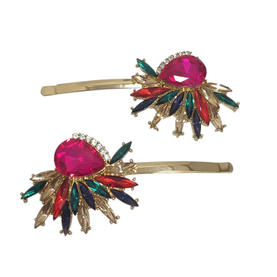 ATHENA COLLECTION - GATSBY STYLE CRYSTAL CLIPS - (CLIP748) FUCHSIA