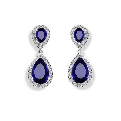 CUBIC ZIRCONIA COLLECTION - CHIC CRYSTAL EARRINGS - CZER369 SAPPHIRE BLUE