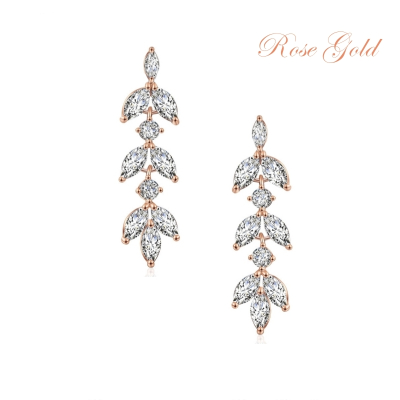 CUBIC ZIRCONIA COLLECTION - DAINTY DROP SPARKLE EARRINGS - CZER452 ROSE GOLD