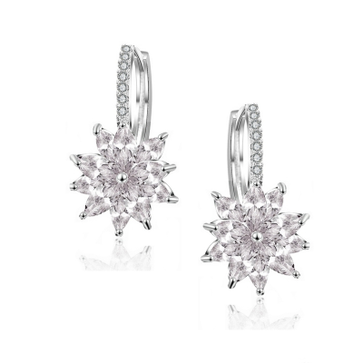 CUBIC ZIRCONIA COLLECTION - PETITE CRYSTAL SPARKLE EARRINGS - CZER461 SILVER