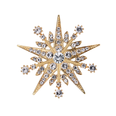 ATHENA COLLECTION - CRYSTAL STARBURST BROOCH - GOLD - BROOCH 49