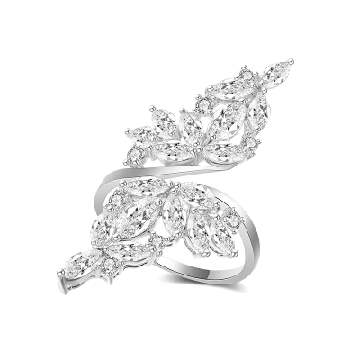 ATHENA COLLECTION - CRYSTAL LUXE COCKTAIL RING - ADJUSTABLE  SILVER R11