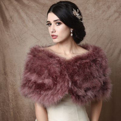 Marabou Feather Wrap - Dusky Pink (SG5)