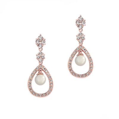 CUBIC ZIRCONIA COLLECTION - SIMPLY DIVINE EARRINGS - ROSE GOLD  (CZER415)