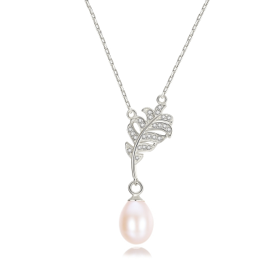 CUBIC ZIRCONIA COLLECTION - VINTAGE FRESHWATER PEARL NECKLACE - CZNK121 SILVER