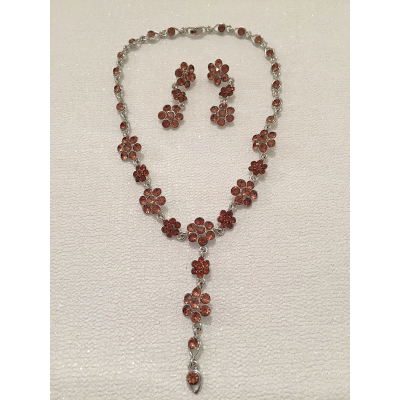 SALE ITEM - CRYSTAL DROP NECKLACE SET - SMOKED TOPAZ - (510)