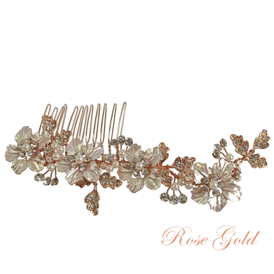 ATHENA COLLECTION - FLORAL ROMANCE HAIR COMB - HC169 ROSE GOLD
