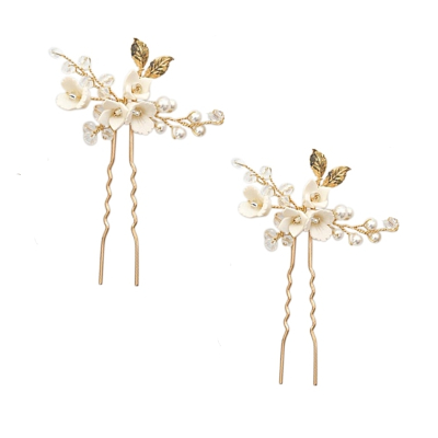 ATHENA COLLECTION - VINTAGE CHARM HAIR PINS - GOLD (PIN48) (Pair)