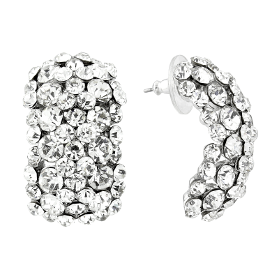 ATHENA COLLECTION CRYSTAL CLUSTER EARRINGS - SILVER