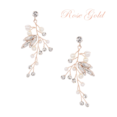 ATHENA COLLECTION - CASCADES OF PEARL EARRINGS - CZER583 ROSE GOLD