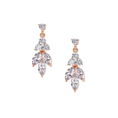 CUBIC ZIRCONIA COLLECTION - DAINTY SPARKLE DROP EARRINGS - CZER441 ROSE GOLD