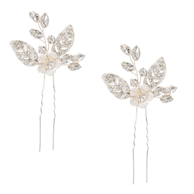 ATHENA COLLECTION - PRETTY CHIC HAIR PINS - SILVER (PAIR) PIN 50