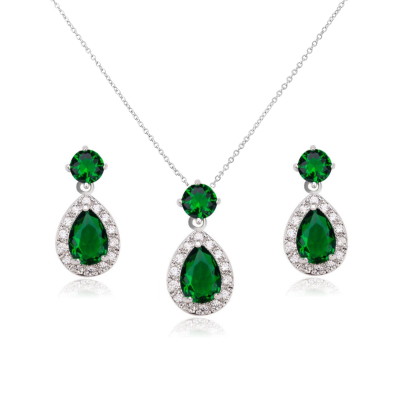 CUBIC ZIRCONIA COLLECTION - DAZZLING CRYSTAL DROP NECKLACE SET - (CZNK55) EMERALD GREEN
