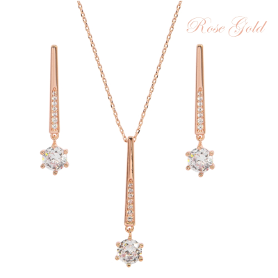 CUBIC ZIRCONIA COLLECTION - SHIMMER DROP NECKLACE SET  - NK137 ROSE GOLD