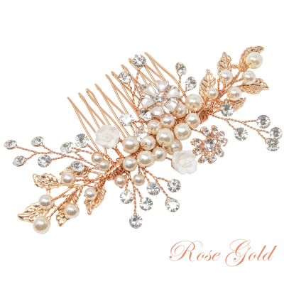 ATHENA COLLECTION - ETERNALLY PEARL HAIR COMB - HC160 ROSE GOLD