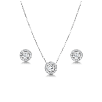 CUBIC ZIRCONIA COLLECTION - DAINTY CRYSTAL SPARKLE NECKLACE SET - CZNK78 SILVER
